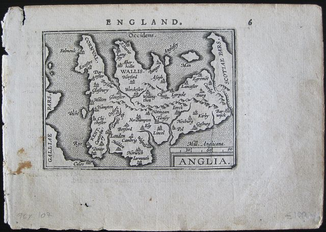 Ortelius abraham england miniature map of england from the first english world atlas gumiabroncs Choice Image